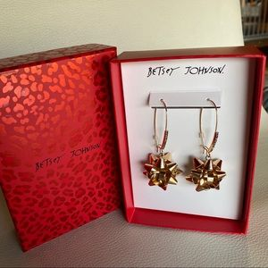 Betsey Johnson bow rhinestone earrings gold dangle